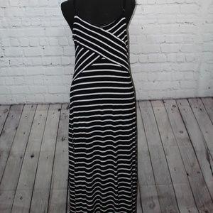 Mossimo stripes black white stretchy maxi dress XL